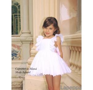 Vestido niña de Lapeppa blanco con lazo rosa