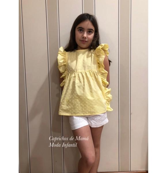 Camisa niña Baby Yiro amarilla plumeti