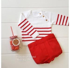 Conjunto bombacho bebé niño Navy rojo