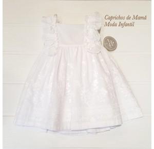 Vestido niña de Mon Petit plumeti blanco