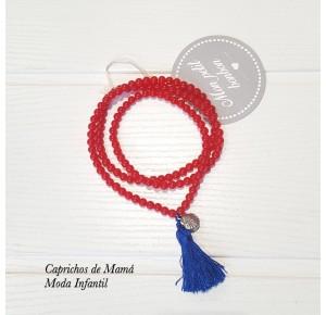 Collar bolas rojas con borla azul de Mon Petit