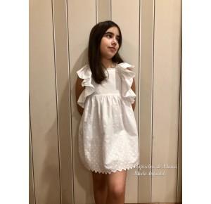 Vestido niña de Lapeppa blanco con lazadas espalda