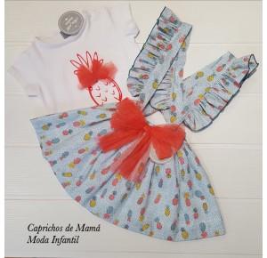 Camiseta y falda tirantes niña de Mon Petit piñas