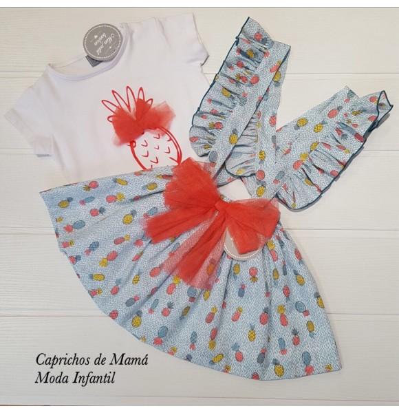 f7adf317d Camiseta y falda tirantes niña de Mon Petit piñas