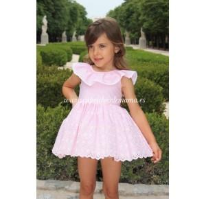 Vestido niña de Lapeppa a rayas rosa