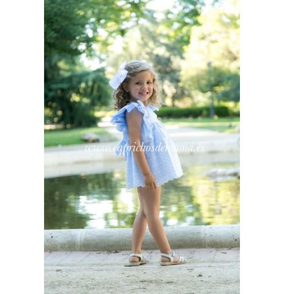 Vestido niña de Lapeppa azul volantes