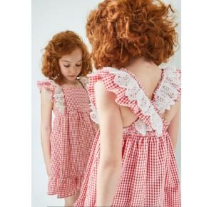 Vestido niña de Dadati cuadros vichy rojo