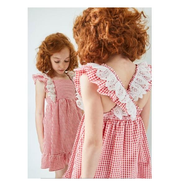 bfbd39c83c Vestido niña Chili de Dadati cuadros vichy rojo