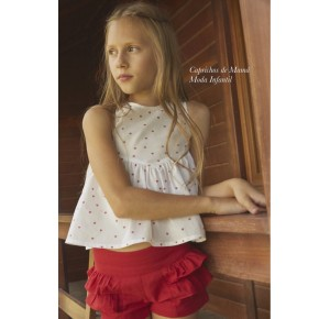 Camisa y short niña Chili de Dadati rojo corazones