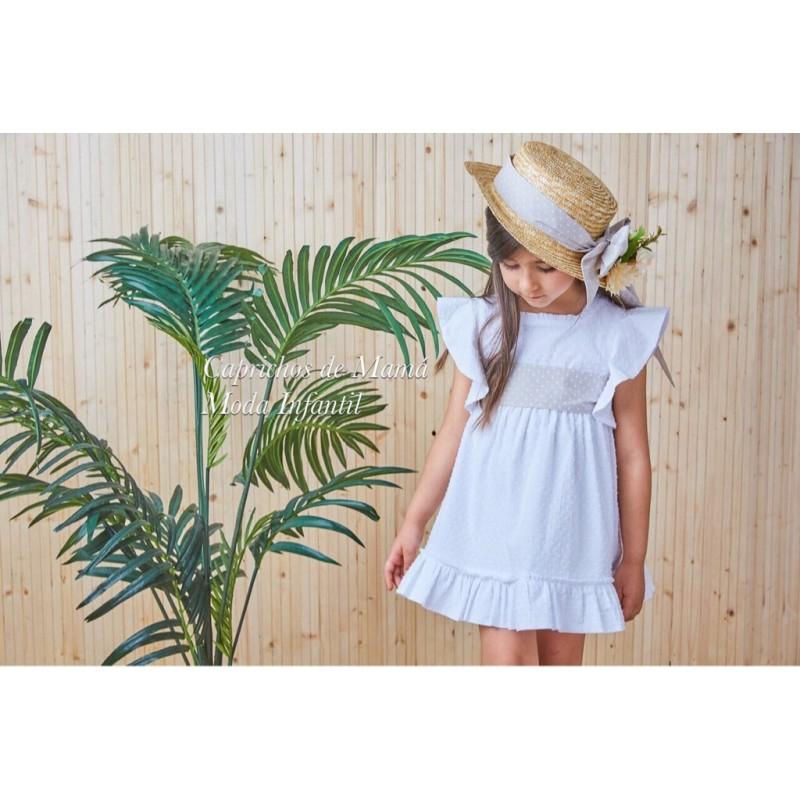 2a26f1a47 Vestido niña Lotus de Dadati plumeti blanco ...