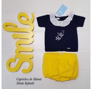 Conjunto bombacho bebé niño de Foque amarillo y azul