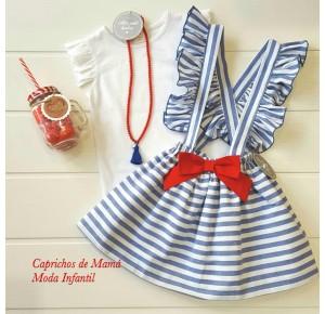 Falda niña de Mon Petit a rayas azules
