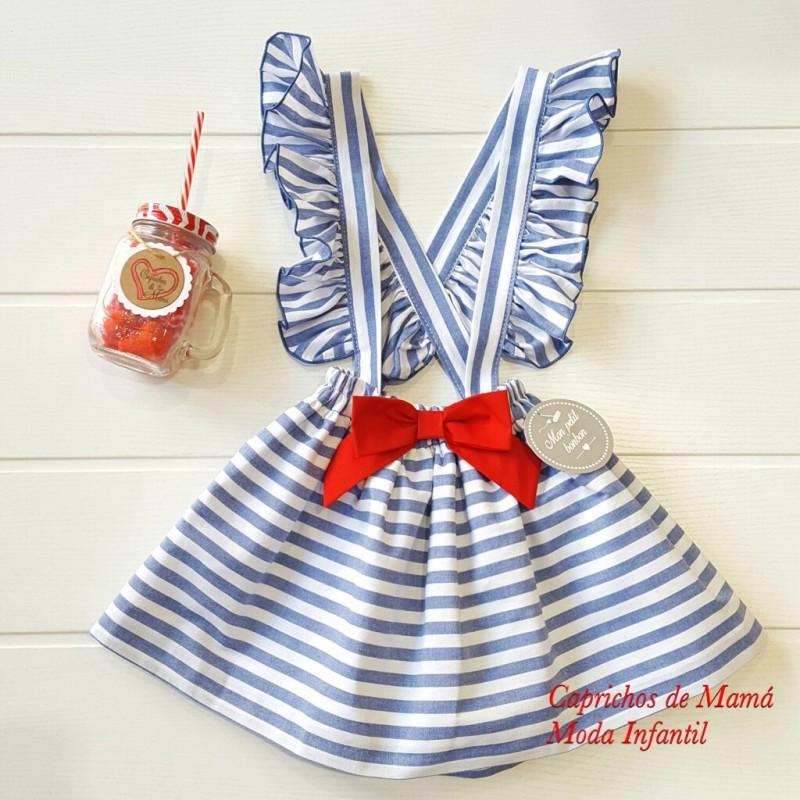 244af7f2b Falda tirantes niña de Mon Petit rayas azul y blanco