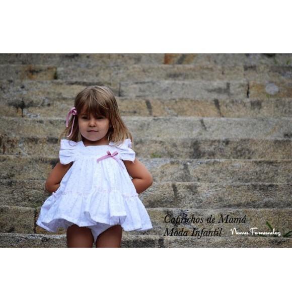 Vestido niña Anais de Noma Fernández plumeti rosa