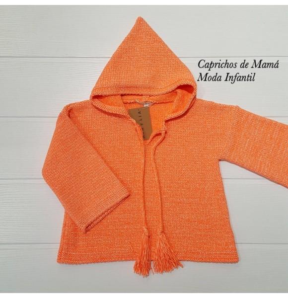 Jersey niña de Mía y Lía naranja flúor