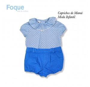 Conjunto bombacho bebé niño de Foque topos azul