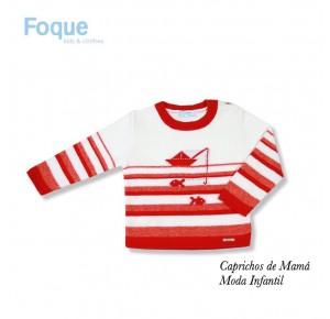 Jersey bebé niño de Foque a rayas rojas