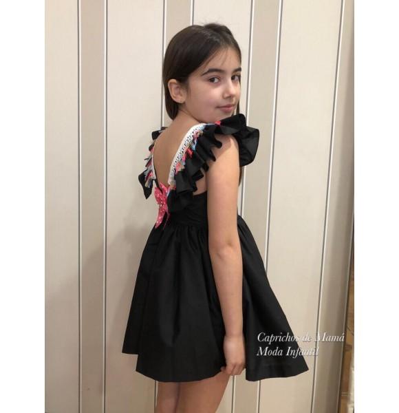 Vestido niña de Mon Petit negro borlas