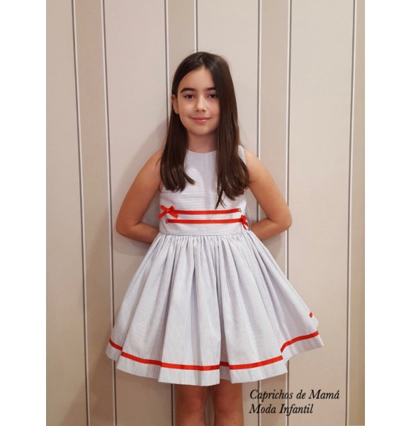 Vestido niña Coraline de Noma Fernández rayas gris