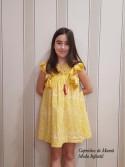 Vestido niña de Mon Petit mostaza estampado étnico