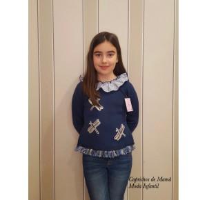 Jersey niña Juanola de Lolittos azul con libélulas