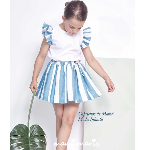 Camisa y falda niña Turquesa de Mami Maria a rayas
