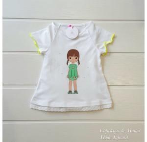 Camiseta niña de Eva Castro blanca amarilla