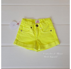 Short niña de Eva Castro amarillo flúor