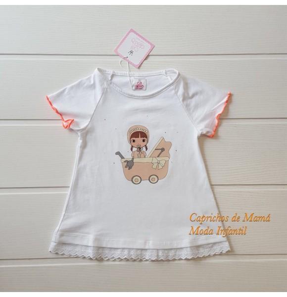 Camiseta niña de Eva Castro coral