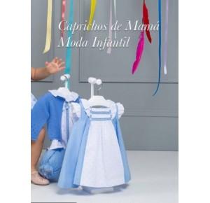 Vestido bebé niña Zarzuela de Yoedu plumeti azul