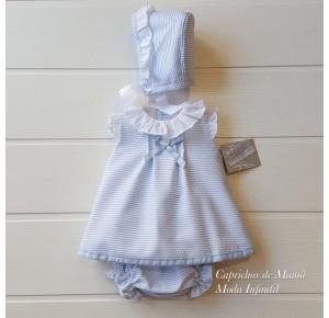 Jesusito bebé niña Bailén de Yoedu piqué azul y blanco