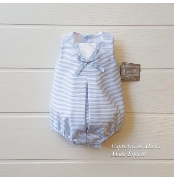 Pelele bebé Bailén de Yoedu piqué azul y blanco