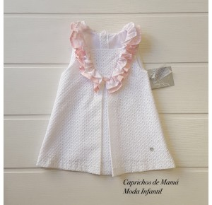 Vestido bebé niña Valparaíso de Yoedu blanco perforado