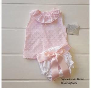 Conjunto bebé niña Valparaíso de Yoedu blanco y rosa