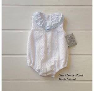 Pelele bebé Valparaíso de Yoedu blanco y azul