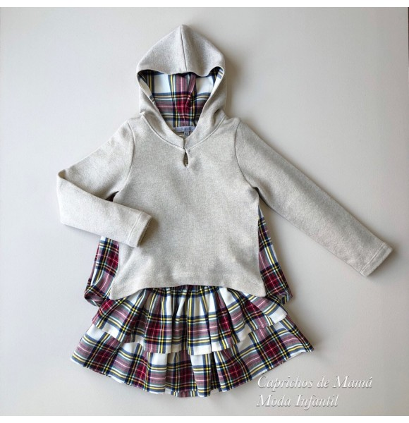 Conjunto niña sudadera y falda Tartán de Kauli