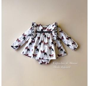 Jesusito bebé niña Frenchie de Mon Petit estampado