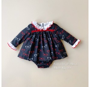 Jesusito bebé niña Gafas de Mon Petit marino y rojo