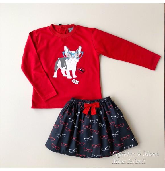 Conjunto niña sudadera y falda Gafas de Mon Petit