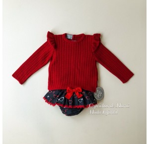 Conjunto niña jersey y braguita Gafas de Mon Petit