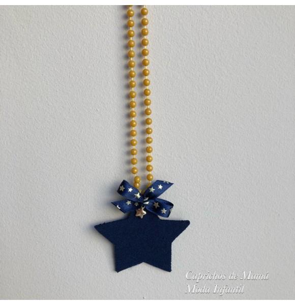 Collar Estrella de Mon Petit mostaza y marino