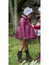 Abrigo niña de La Martinica guateado color burdeos