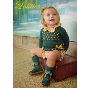 Conjunto bebé niña Desierto de Lolittos verde botella