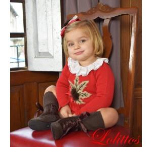 Conjunto bebé niña Nogal de Lolittos cuadro gales