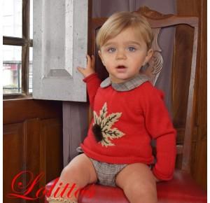 Conjunto bebé niño Nogal de Lolittos cuadro gales