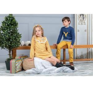 Vestido niña Fábulas de Yoedu color mostaza