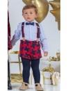 Conjunto bebé niño Dickens de Yoedu marino y rojo