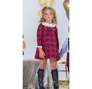 Vestido niña Dickens de Yoedu marino y rojo
