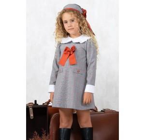 Vestido niña Beatrix de Yoedu gris y calabaza