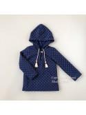 Sudadera niña de Baby Yiro azul marino con topos